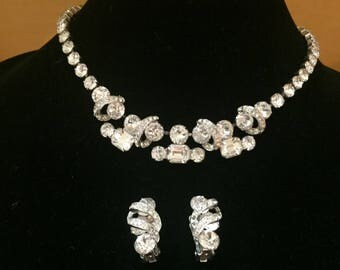 Exceptional Eisenberg Rhinestone Necklace and Earring Set