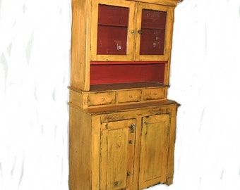 Mustard Painted Stepback Cupboard Primitive Antique Hutch 2 Piece c1900