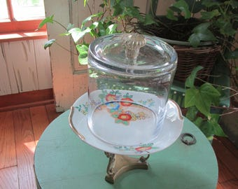 Vintage Upcycled Pedestal Display Stand Glass Cloche