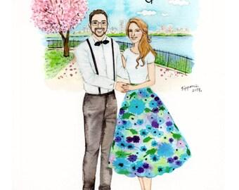 Custom watercolor, Custom portrait with nice background , Custom Portrait, Custom Couple Portrait,  illustration ,   Wedding gift, Wall art.