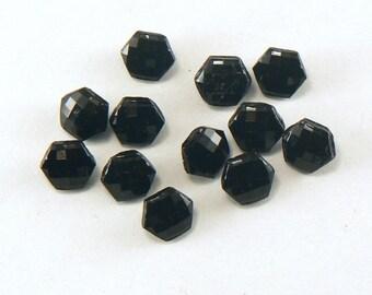 "12 - 3/8"" Black Faceted Czech Vintage Glass Buttons - Hexagon Shape Black Shank Buttons - 9 mm Sewing Buttons # GL-29-18"