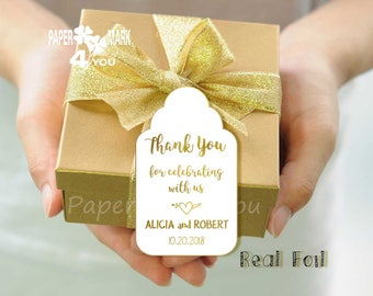 24 Real Gold Foil Thank You Tag_ Foil Wedding Personalized Tag _ Personalizable Text in Your Language_ Grazie Tag_Merci_ ありがとうございました_Gracias