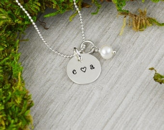 Custom Initial Necklace with Freshwater Pearl - Hand Stamped  Wedding Gift - Anniversary or Valentine Gift
