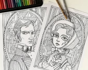 2 Coloring pages - North and South -Margaret Hale and Mr John Thornton portraits -Instant download - Art Printable illustration JPG
