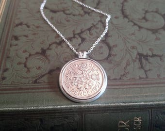 1957 Birthday Gift, Lucky Sixpence Necklace, 1957 Jewelry Gift, 60th Birthday Gift, 60th Birthday Ideas, 60th birthday gifts for women