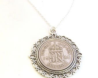 1948 Birthday Gift, Lucky Sixpence Necklace, 1948 Jewelry Gift, 70th Birthday Gift, 70th Birthday Ideas, 70th birthday gifts for women