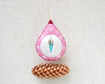 Blair, the heathered pinkish purplish perfectish Vaginament vagina ornament. Christmas decoration, womens lib gift {Big Snowy Blair}