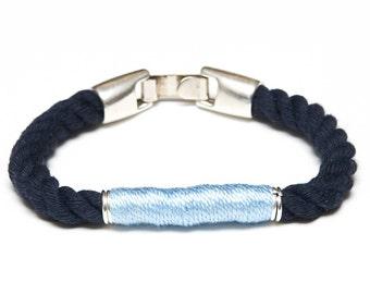 Nautical Rope Bracelet / Navy Blue Rope Bracelet / Gold Nautical Bracelet / Nautical Jewelry / Nautical Gift