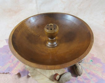 Vintage Mid Century Nut Bowl Sleek Style Walnut Wood Footed Nut bowl Entertaining Fall Autumn Home Decor