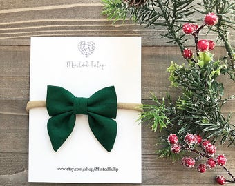 Solid Green Small or Large Sailer Bow on Nylon Headband or Hair Clip Baby Toddler Kids