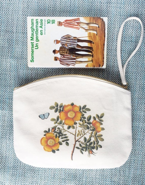 Pouch, Golden Flowers, Organic cotton.