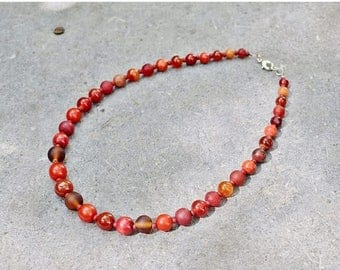 SALE Elegant Red Necklace, Beaded Necklace, Ethnic Jewelry, Round Beads Necklace, Boho Chic Jewelry, Gemstone Necklace, Mom Gift for Her