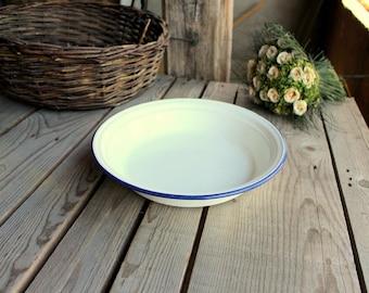Vintage Wash Basin - White Enamel Bowl - White and Blue Wash Bowl - French Enamelware - Home Decor - French Rustic