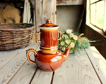 Vintage Teapot - Teapot with Filter - Brown Coffee Pot - Ceramic Tea Pot - French Pottery - Tea Party - French Vintage Table