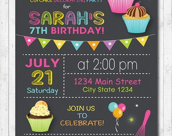 Cupcake Invitation, Cupcake Decorating Invitation, Cupcake Invite, Cupcake Birthday, Chalkboard,  DIY, Printable Invite