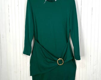 Emerald green bodycon knitted dress Vintage retro evening party dress Long sleeve autumn winter dress SIZE M L