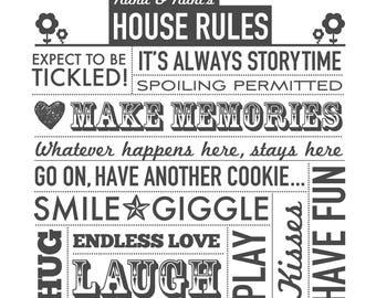 Grandparents' House Rules printable poster - Nana and Nani