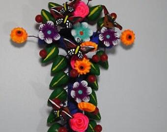 CLAY CROSS  100% handmade, colorful mexican folk art, tree of life style