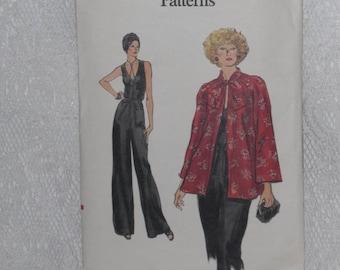 Vogue 9253 Pattern Misses' Jumpsuit & Smock Jacket Size 10 Vintage 1970's
