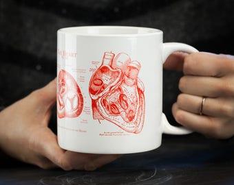 Anatomical Heart Mega Mug | Large Coffee Mug, Cardiac, Cardiology, Nurse Gift, Nursing, Greys Anatomy, Science Biology, medical illustration