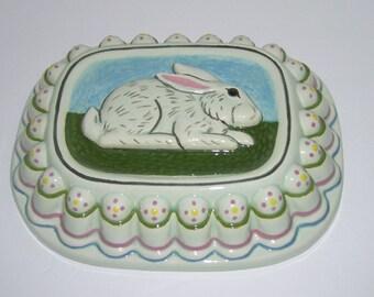 Vintage Ceramic Bunny Rabbit Mold Easter Wall Decor