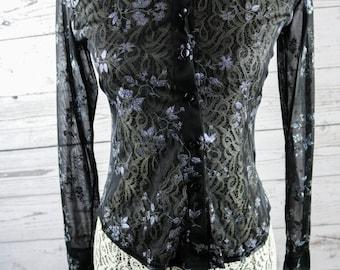 90s Anxiety Café Sheer Black Glitter Flowers Button Down Shirt- XXS-XS- 90s Fashion