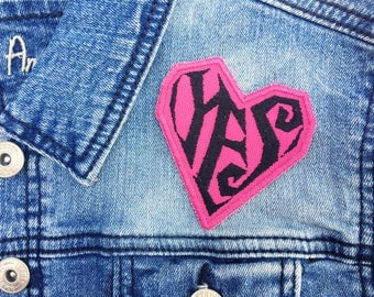 Custom Prince YES Heart Symbol Embroidered Iron-On Patches