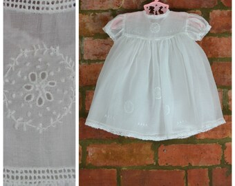 Vintage baby girl dress and petticoat, 50's White organza dress with lace / embroidery detail, Heirloom dress, Christening/wedding/baptism