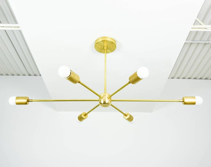 "Large 36"" Modern Raw Brass Gold Starburst Chandelier 6 Arm Pinwheel Bulb Sputnik Mid Century Dining Room Light UL Listed"