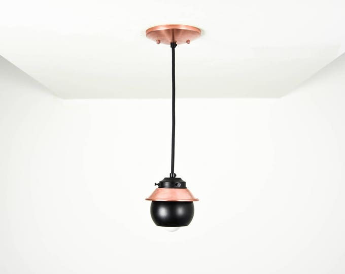 Matte Black and Copper Mix Pendant Light Cone Spherical Metal Shade Vanity Modern Mid Century Industrial