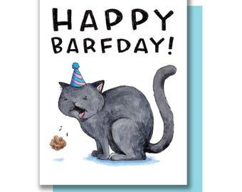 Happy Barfday Happy Birthday Cat Barf Card
