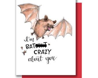 I'm Batsh!t Crazy About You Bat Valentine Love Card