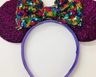 Ariel Mickey Ears, Ariel Ears, Littler Mermaid Ears, Little Mermaid Mickey Ears, , Purple Minnie ears,mermaid minnie ears