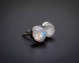 Moonstone studs Moonstone earrings Rainbow Moonstone studs Moonstone ear studs Moonstone jewelry Rose cut Moonstone BlackFriday Cyber Monday