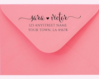 Personalized Self Inking Return Address Stamp Custom Name Custom address Calligraphy Stamp Rubber Stamp Or Pre-inked Stamp RE932