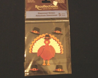 Recollections- Turkey & Pilgrim Hats-Thanksgiving- 5 Dimensional Stickers- New