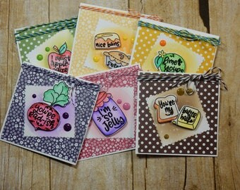 6 Food Themed Notecards / Blank Inside Greeting Cards / Greeting Card Set / Greeting Card Pack