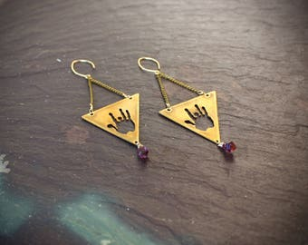 Jerry Garcia Triangle earrings / Raw Super 7 Melody stone/ Grateful dead / handmade jewelry / raw amethyst / dead head