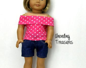 18 inch doll clothes made to fit like american girl doll clothes jean shorts and pink with white dots off shoulder top
