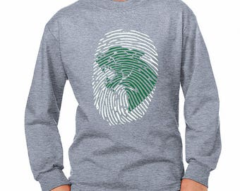 Youth Panther Print Long-Sleeve Shirt - School Spirit - Panthers - Unisex Long Sleeve Gray Tee