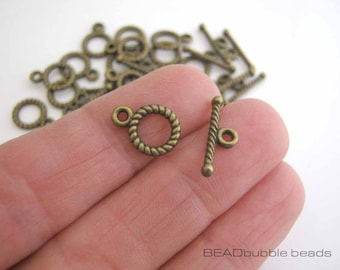Small Toggle Clasps Bronze Tone, Pack of 15 Sets, Findings for Jewelry Making, Tiny Clasps for Jewellery