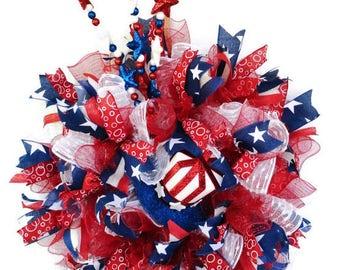 4th of July Wreath, USA Wreath, Patriotic Wreath, Independence Day, Red White Blue Wreath, Stars and Stripe, Military Wreath, Americana Mesh