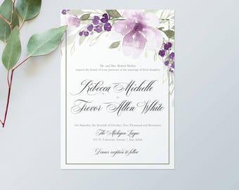 Ultra Violet Wedding Invitations –Printable Wedding Invitations – Watercolor Wedding Stationery – Purple Wedding Invitations - Ultra Violet