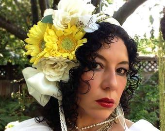The Tehuana wedding headpice. Mexican wedding headband. Frida Kahlo inpired wedding.