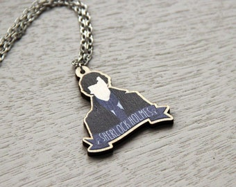 Sherlock Holmes Minimalist Wooden Necklace