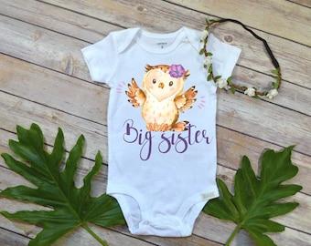 Big Sister Shirt, Owl Theme, Big Sister Gift, Boho Baby Shirt, Big Sister T-shirt, Baby Shower Gift,Big Sister Dress, Promoted to Big Sister