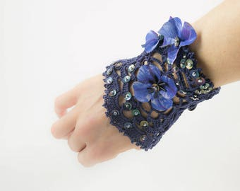 Blue crochet cuff bracelet-Lace-silk flowers-sequins-dark blue