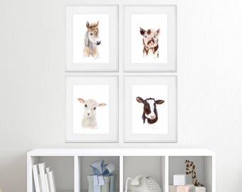 Framed Nursery Art - Farm Nursery Prints - Baby Animal Prints - Farm Nursery Print Set - Framed Animal Prints - Cow - Pig - Horse - Sheep