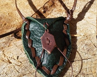 Green Vintage Leather Crystal/Charm Pouch with Free Crystal