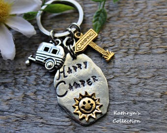 Happy Camper Key Chain, RV gift, Camping Gift